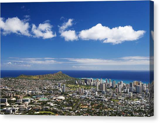 University Of Hawaii Canvas Print - Lookout View Of Honolulu by Greg Vaughn - Printscapes