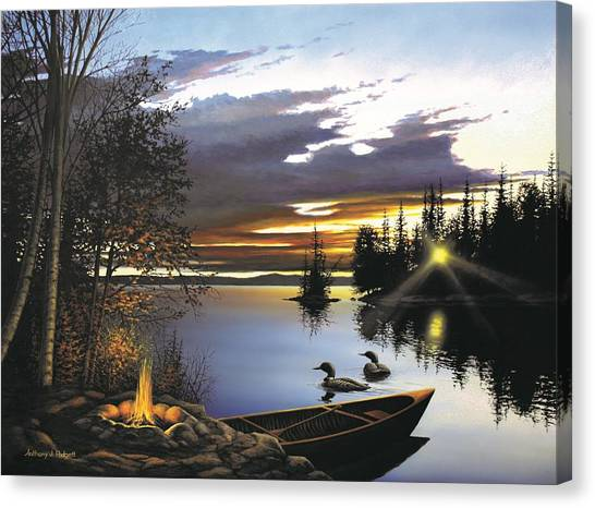 Loons Canvas Print - Loon Lake by Anthony J Padgett