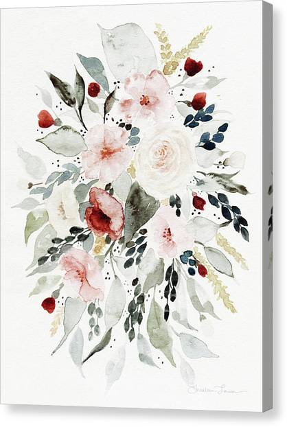 Wedding Bouquet Canvas Print - Loose Florals by Shealeen Louise
