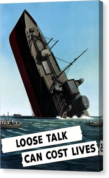 Lips Canvas Print - Loose Talk Can Cost Lives by War Is Hell Store