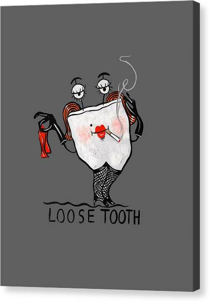 Cavity Canvas Print - Loose Tooth T-shirt by Anthony Falbo