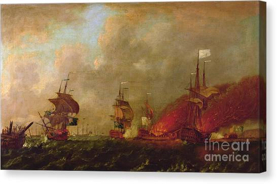 New England Revolution Canvas Print - Lord Howe And The Comte Destaing Off Rhode Island by Robert Wilkins