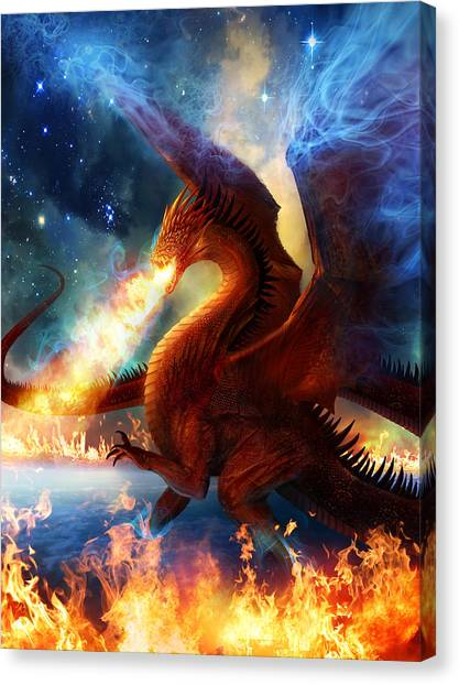 Dragons Canvas Print - Lord Of The Celestial Dragons by Philip Straub