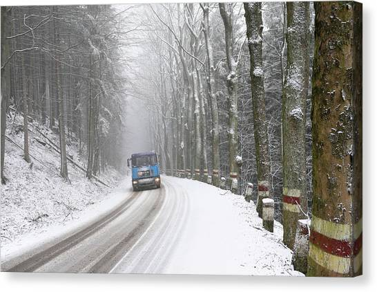 Canvas Print featuring the photograph Lorry In A Frozen Woods by Dubi Roman