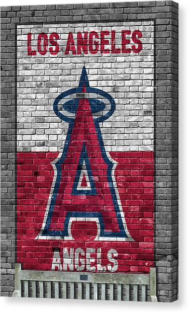 Los Angeles Angels Canvas Print - Los Angeles Angels Brick Wall by Joe Hamilton