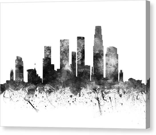 Los Angeles Skyline Canvas Print - Los Angeles California Cityscape 02bw by Aged Pixel