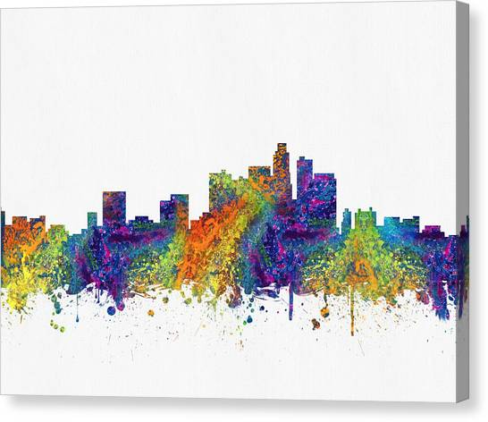 Los Angeles Skyline Canvas Print - Los Angeles California Skyline Color03 by Aged Pixel