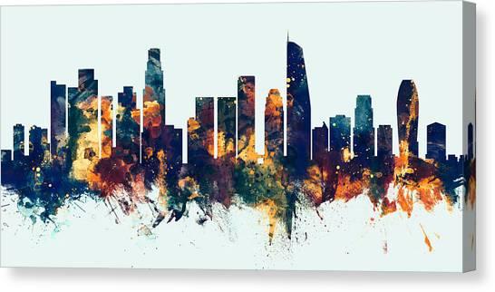 Los Angeles Skyline Canvas Print - Los Angeles California Skyline Panoramic by Michael Tompsett