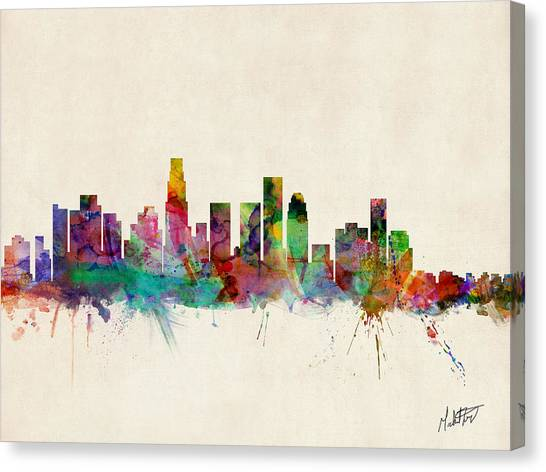 Los Angeles Skyline Canvas Print - Los Angeles California Skyline Signed by Michael Tompsett