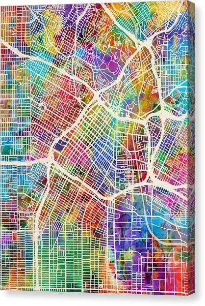 Los Angeles Canvas Print - Los Angeles City Street Map by Michael Tompsett