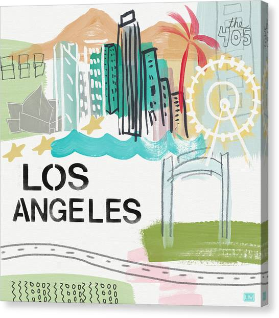 California Landscape Art Canvas Print - Los Angeles Cityscape- Art By Linda Woods by Linda Woods