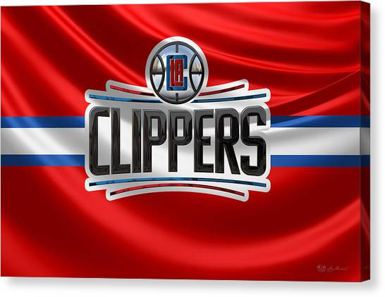 La Clippers Canvas Print - Los Angeles Clippers - 3 D Badge Over Flag by Serge Averbukh
