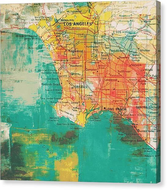 La Lakers Canvas Print - Los Angeles Coast  by Brandi Fitzgerald