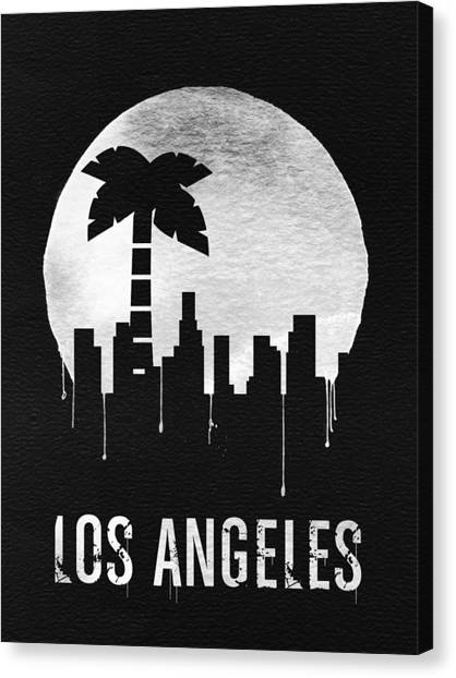 Moon Canvas Print - Los Angeles Landmark Black by Naxart Studio
