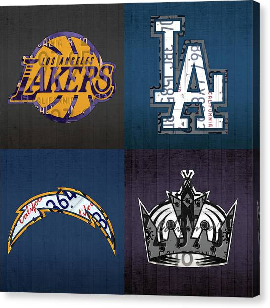 Los Angeles Chargers Canvas Print - Los Angeles License Plate Art Sports Design Lakers Dodgers Chargers Kings by Design Turnpike
