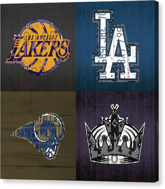 Los Angeles Kings Canvas Print - Los Angeles License Plate Art Sports Design Lakers Dodgers Rams Kings by Design Turnpike