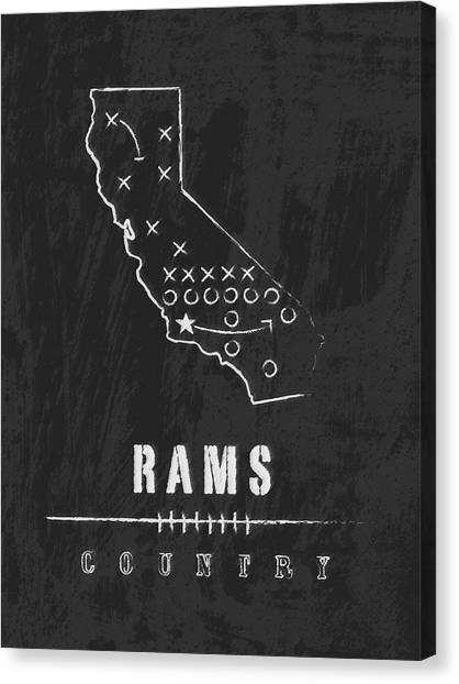 Los Angeles Rams Canvas Print - Los Angeles Rams Art - Nfl Football Wall Print by Damon Gray