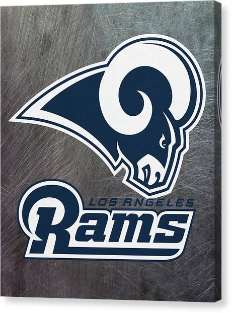 Los Angeles Rams Canvas Print - Los Angeles Rams On An Abraded Steel Texture by Movie Poster Prints