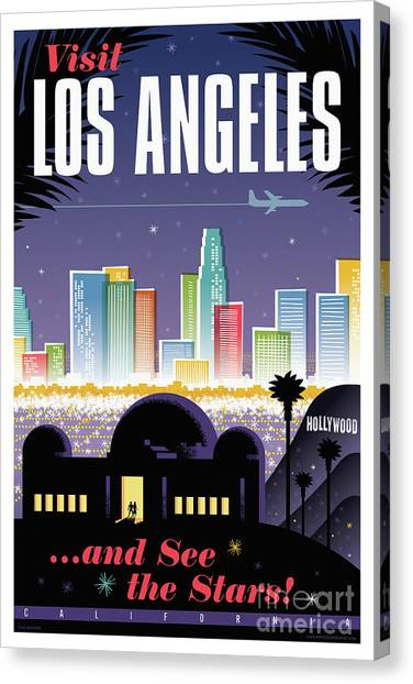 Los Angeles Retro Travel Poster Canvas Print