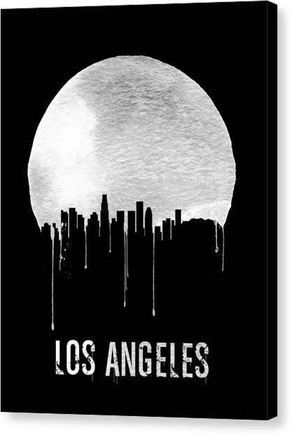 Los Angeles Skyline Canvas Print - Los Angeles Skyline Black by Naxart Studio