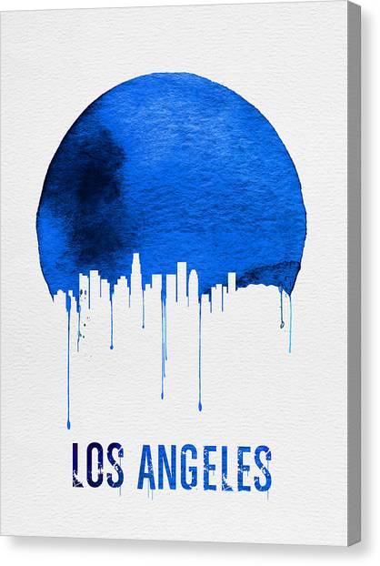 Los Angeles Skyline Canvas Print - Los Angeles Skyline Blue by Naxart Studio