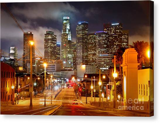 Los Angeles Skyline Canvas Print - Los Angeles Skyline Night From The East by Jon Holiday