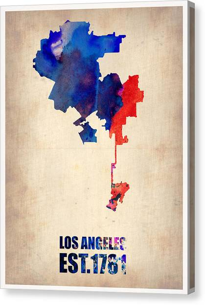 Los Angeles Canvas Print - Los Angeles Watercolor Map 1 by Naxart Studio