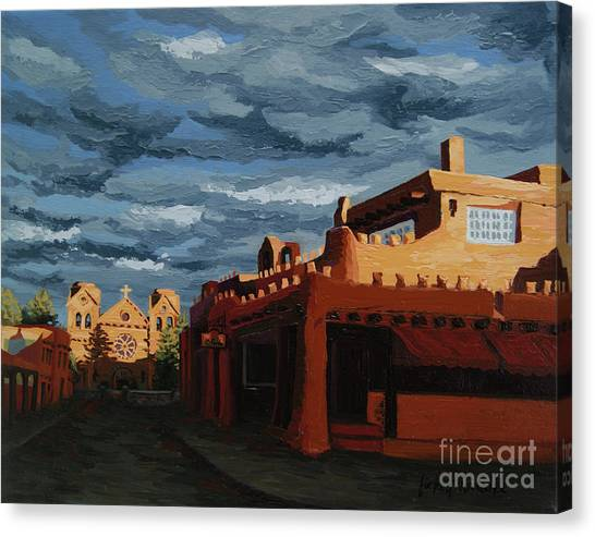 Canvas Print featuring the painting Los Farolitos,the Lanterns, Santa Fe, Nm by Erin Fickert-Rowland