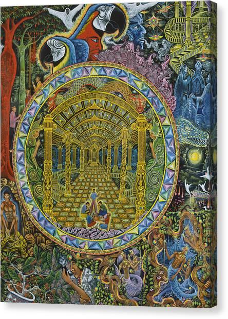Canvas Print featuring the painting Los Grados Del Curandero by Pablo Amaringo