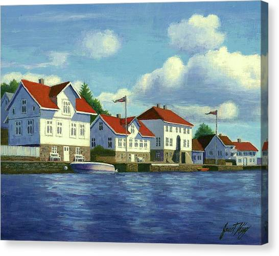 Farsund Canvas Print - Loshavn Village Norway by Janet King