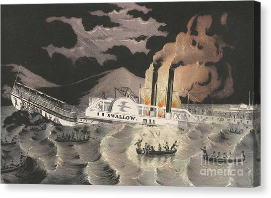Currier And Ives Canvas Print - Loss Of The Steamboat Swallow, While On Her Trip From Albany To New York, 1845 by Currier and Ives