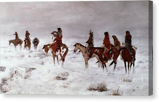 Snowstorm Canvas Print - 'lost In A Snow Storm - We Are Friends' by Charles Marion Russell