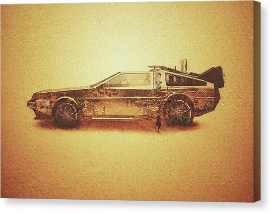 Back To The Future Canvas Print - Lost In The Wild Wild West Golden Delorean Doubleexposure Art by Philipp Rietz