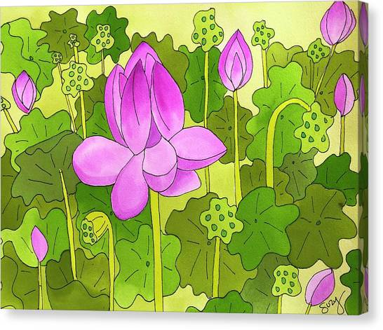 Lotus And Waterlilies Canvas Print