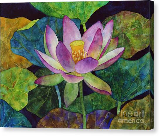 Japanese Gardens Canvas Print - Lotus Bloom by Hailey E Herrera
