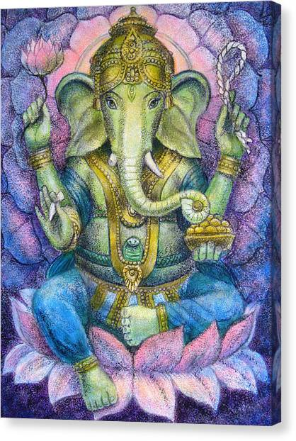 God Canvas Print - Lotus Ganesha by Sue Halstenberg