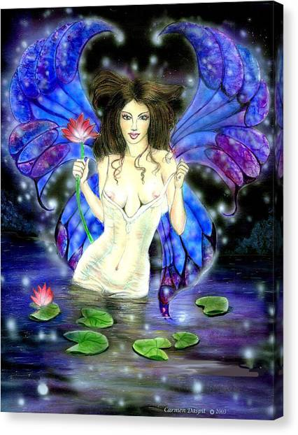 Lotus Goddess Fairy Canvas Print by Carmen Daspit