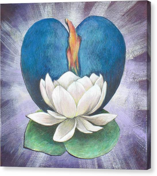 Lotus Heart Light Canvas Print by Jo Thompson
