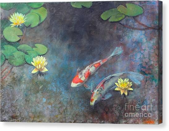 Goldfish Canvas Print - Lotus Pool by Lori McNee