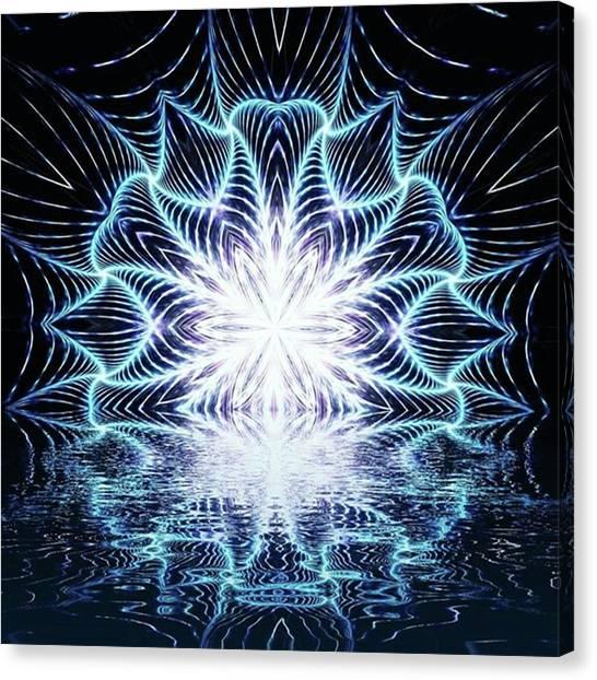 Lotus Rising #kaleidoscope #mandala Canvas Print by Michal Dunaj