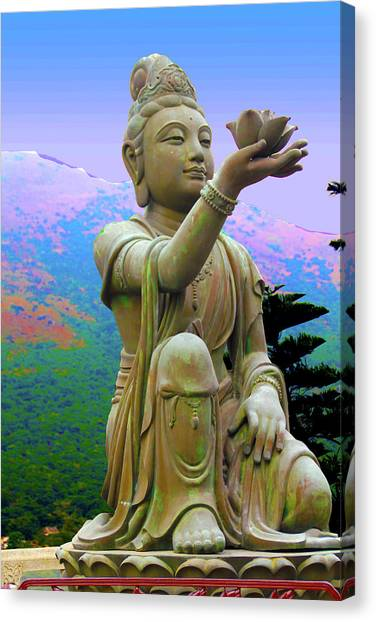 Lotus Statue Canvas Print by Adina Campbell