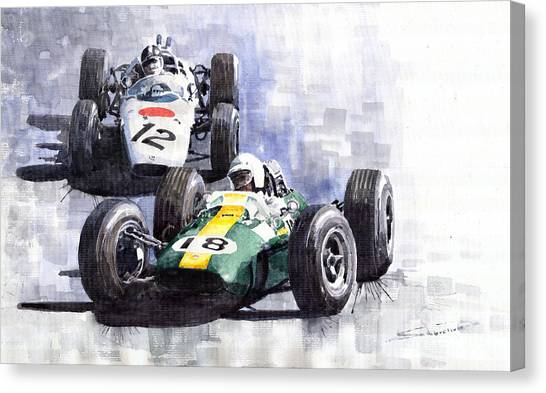 Mexican Canvas Print - Lotus Vs Honda Mexican Gp 1965 by Yuriy Shevchuk