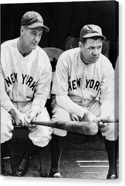 Lou Gehrig Canvas Print - Lou Gehrig And Babe Ruth In Black And White by Bill Cannon