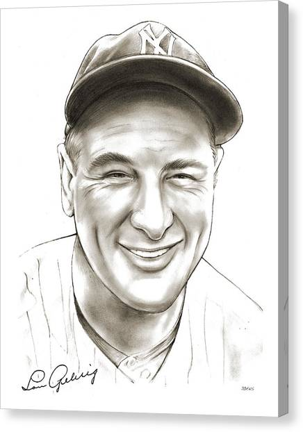 Baseball Canvas Print - Lou Gehrig by Greg Joens