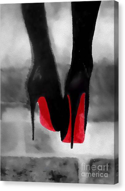 Christian Canvas Print - Louboutin At Midnight Black And White by Rebecca Jenkins
