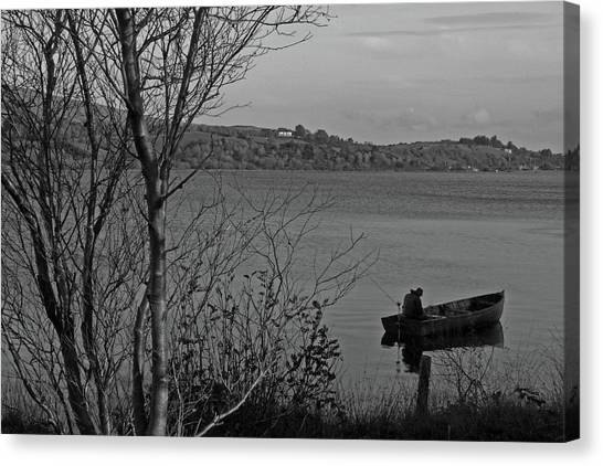 Fishing On Lough Fea Canvas Print