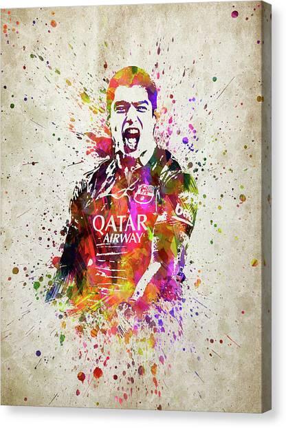 Fc Barcelona Canvas Print - Louis Suarez In Color by Aged Pixel