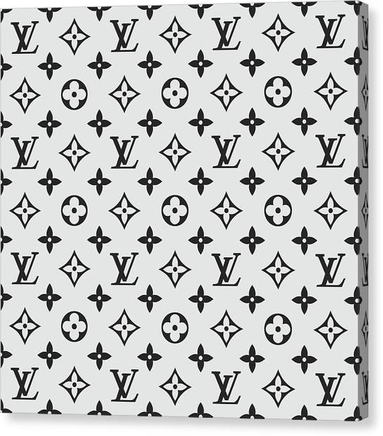 Black And White Canvas Print - Louis Vuitton Pattern Lv 07 Grey by TUSCAN Afternoon