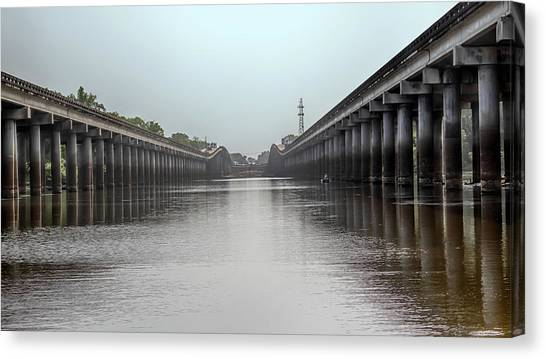 Atchafalaya Basin Canvas Print - Louisiana Airborne Memorial Bridge by Susan Rissi Tregoning