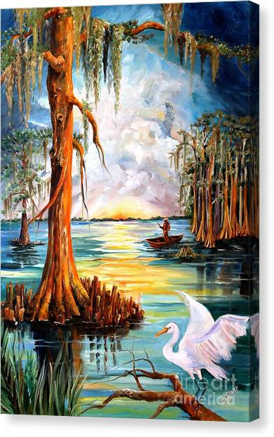 Egrets Canvas Print - Louisiana Bayou by Diane Millsap